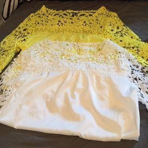 Tops - 2 beautiful NWOT lace detailed shirts